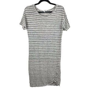 Emerson Fry Gray White Striped Linen Dress S
